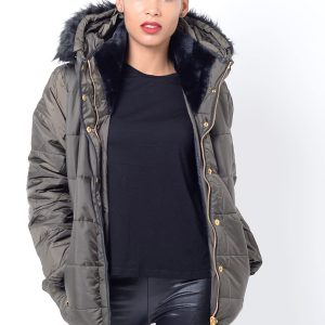 Stylish Faux Fur Hood Padded Jacket