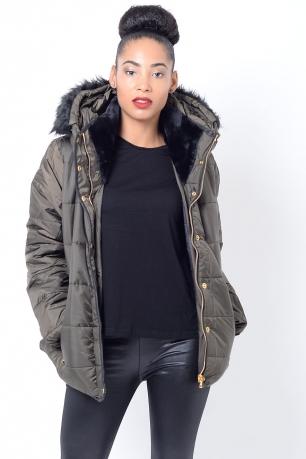 Stylish Faux Fur Hood Padded Jacket