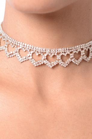 Stylish Heart Diamond Choker Set