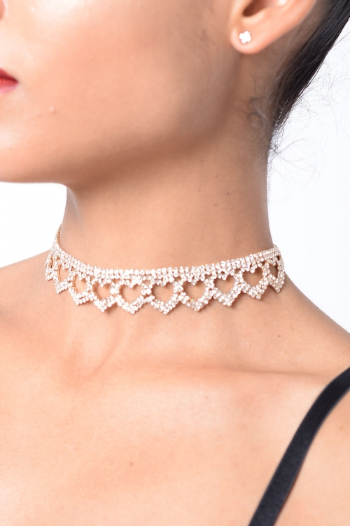 Stylish Heart Diamond Choker Set