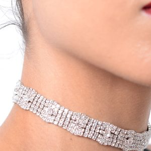 Stylish Tie Back Silver Diamond Chokers