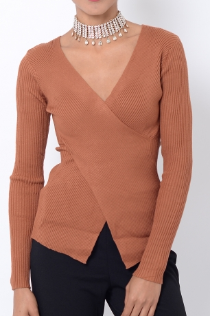 Stylish Brown Crossover Long Sleeve Top