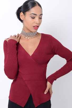 Stylish Burgundy Crossover Long Sleeve Top