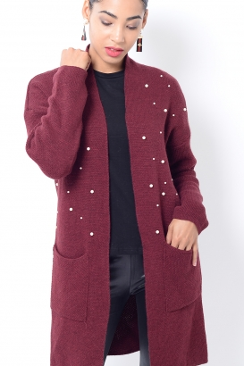 Stylish Burgundy Pearl Cardigan