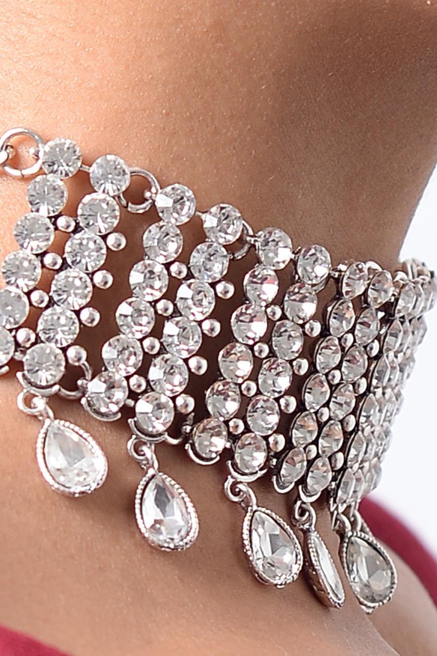 c0ac7c9b42 Stylish Crystal Diamond Choker | Diamond Choker, Silver Choker, Choker