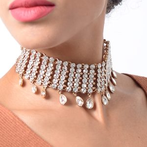 Stylish Gold Crystal Diamond Choker Necklace