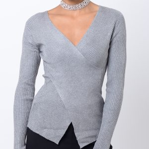 Stylish Grey Crossover Long Sleeve Top