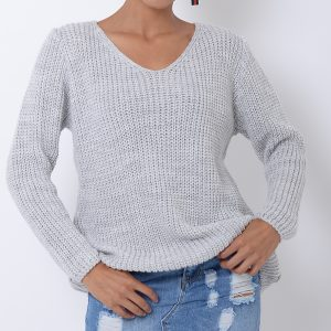 Stylish Light Grey Knitted Jumper