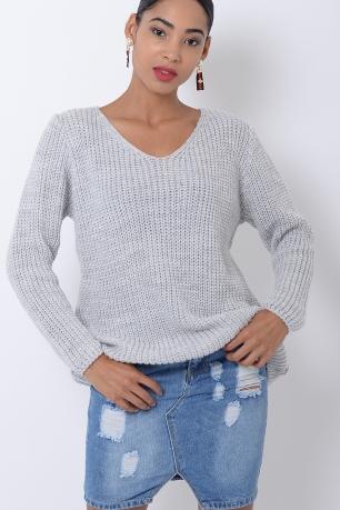 Stylish Light Grey Knitted Jumper