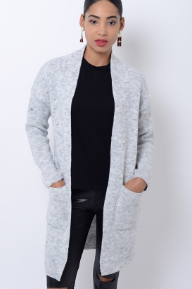 Stylish Light Grey Pearl Cardigan