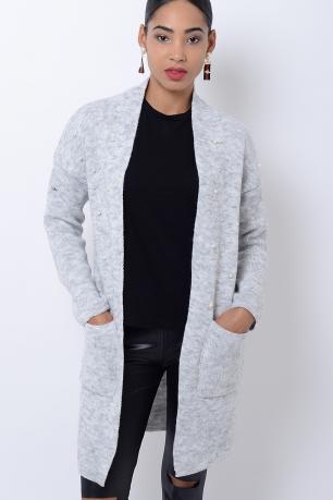 Stylish Light Grey Pearl Cardigan