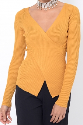 Stylish Mustard Crossover Long Sleeve Top