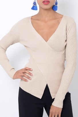 Stylish Nude Crossover Long Sleeve Top