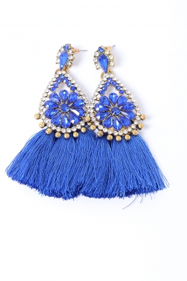 Stylish Royal Blue Tassel Earrings