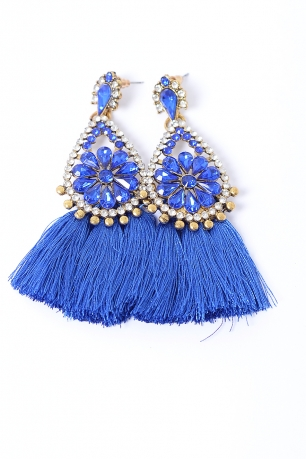 Stylish Royal Blue Tassel Earrings