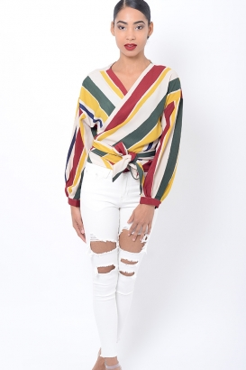 Stylish Striped Wrap Top