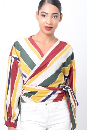 Stylish Striped Wrap Top