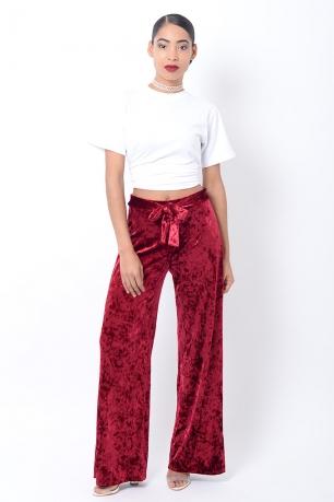 Stylish Velvet Wide Leg Trousers